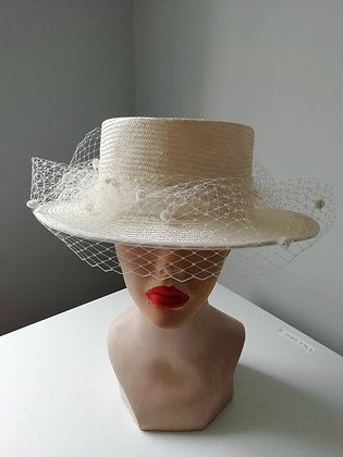 Straw boater with veiling