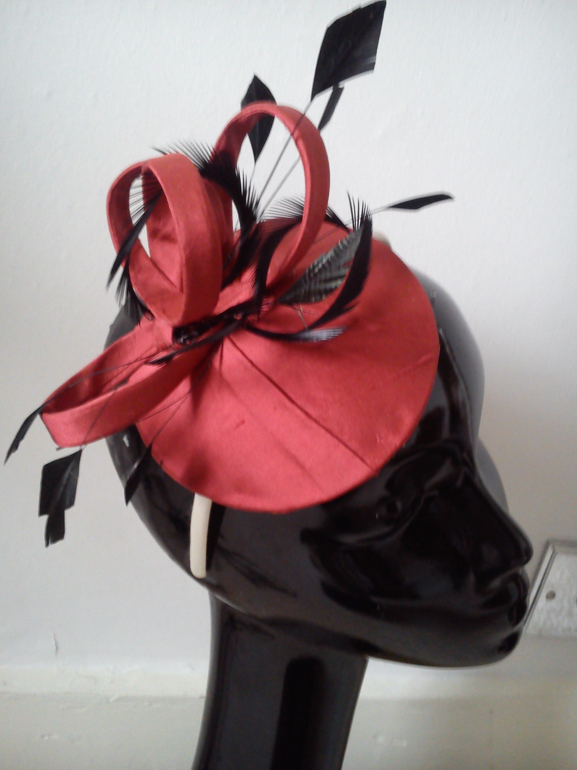 Redcurrant silk headpiece