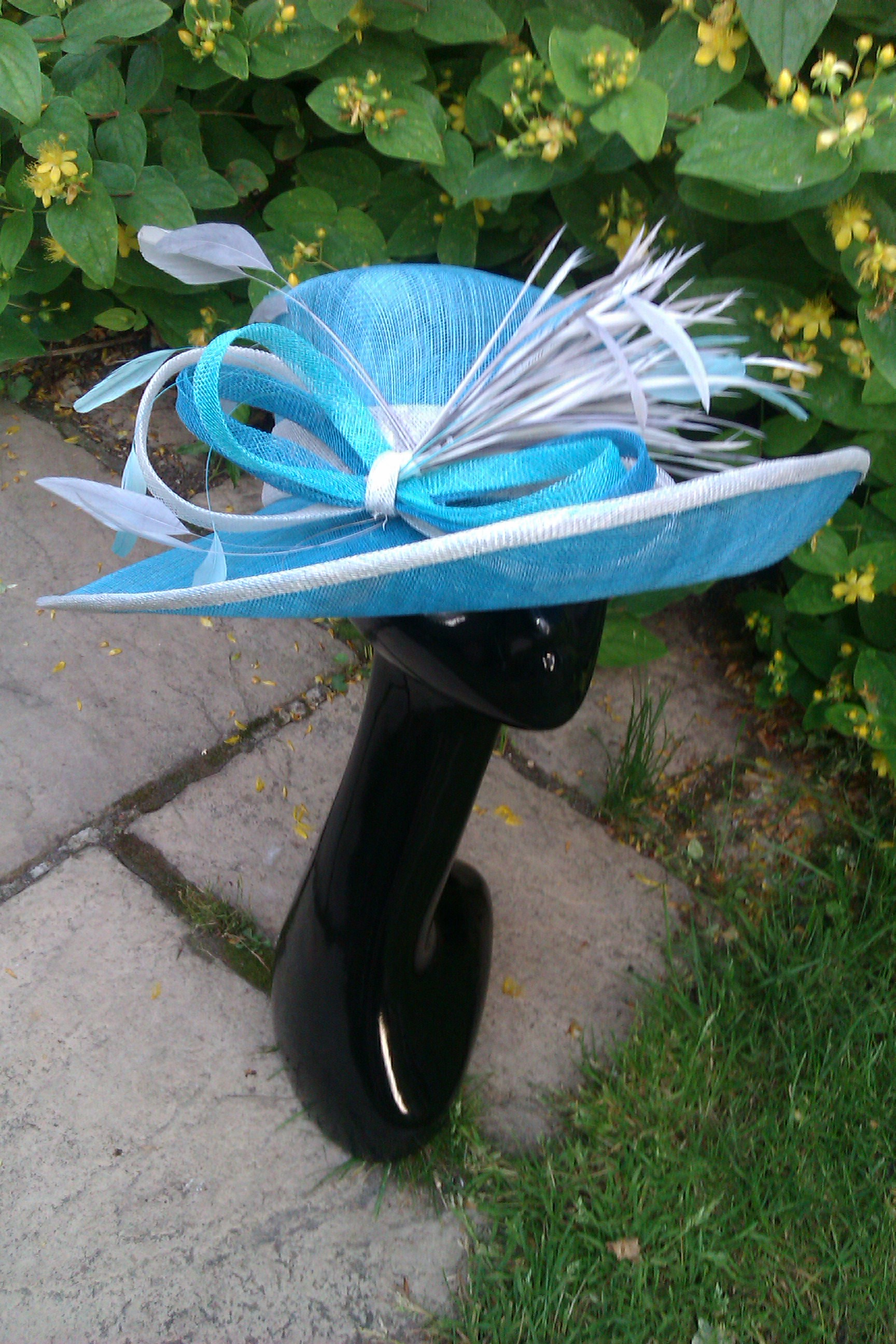 Aqua Sinamay hat for the Races
