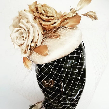 Gold Silk Dupion beret with silk roses and veiling