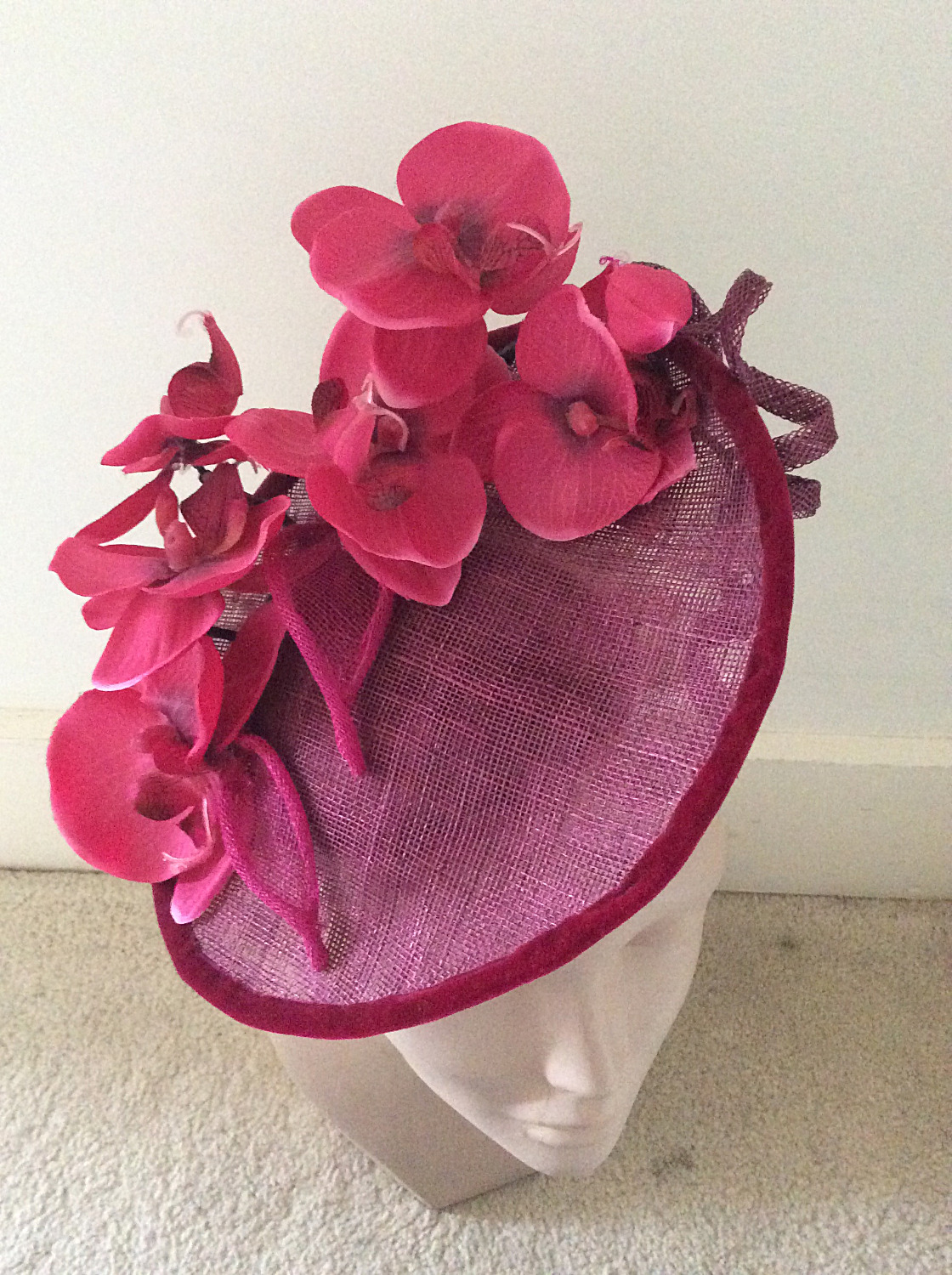 Burgundy orchids hat