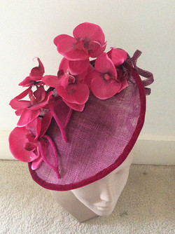 Burgundy orchids hat