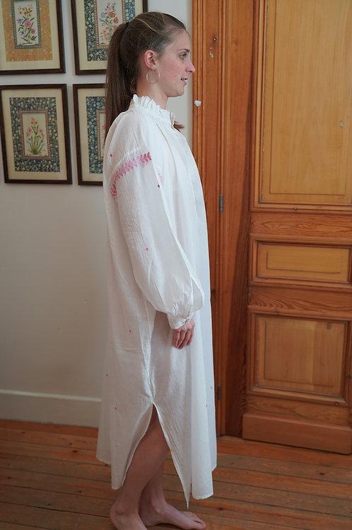 Khadi night shirt embroidery pink
