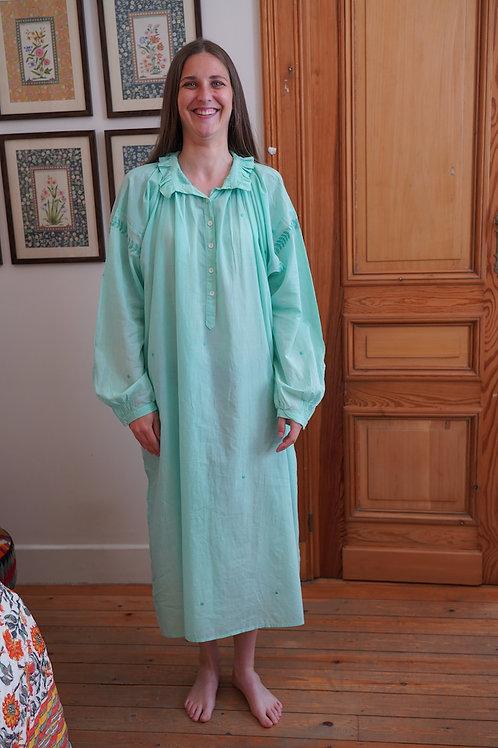 Khadi night shirt aqua with aqua embroidery