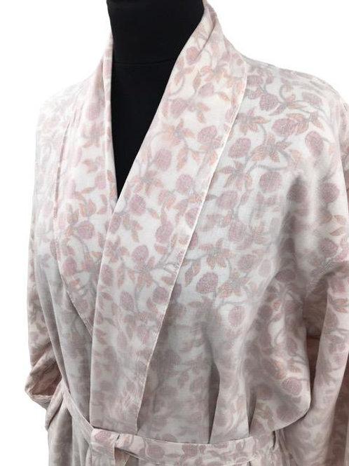 Robe de chambre fleurs roses