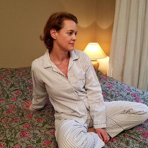 Pyjama lignes bordeaux bleues