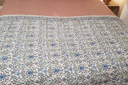Couvre lit matelassé et imprimésàla main arbre bleu