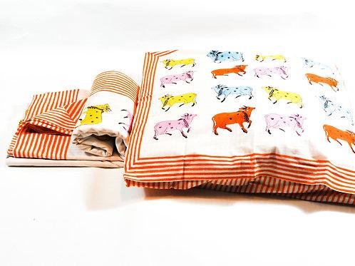 Housse de couette imprimée á la main- vaches