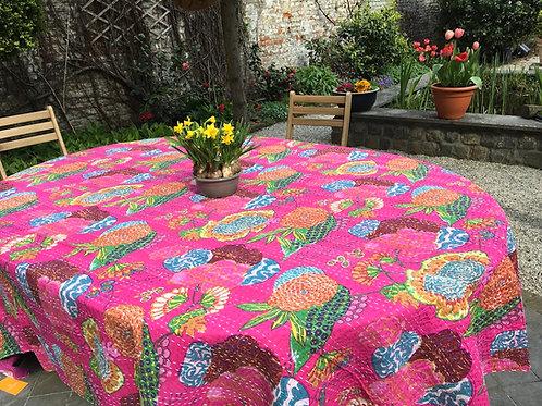 Nappe de table kantha tropical  rose