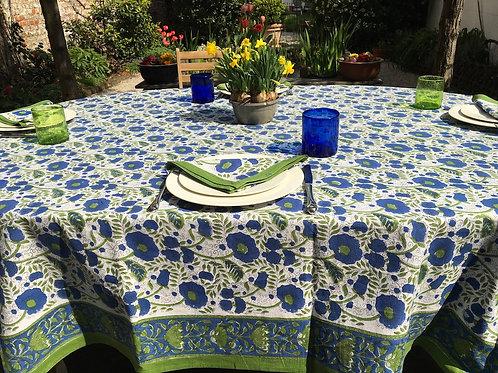 Nappe fleurie bleue, blanche et verte