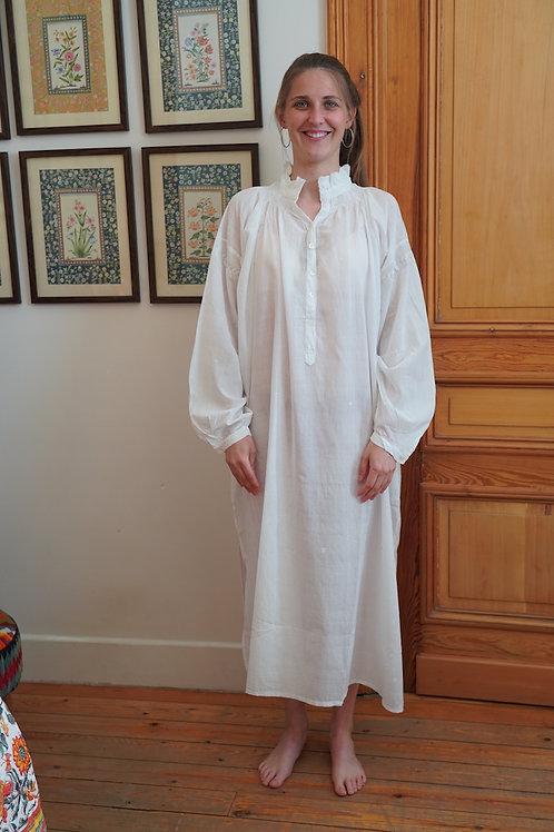 Khadi night shirt embroidery blanc