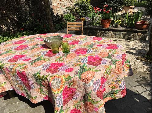 Nappe de table kantha tropical vieux rose