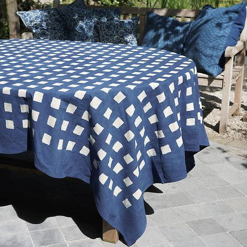Nappe imprimée à la main – carrés indigo