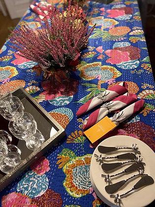 Nappe de table kantha fleurs