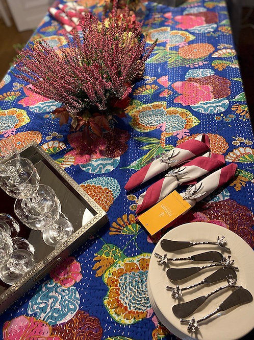 Nappe de table kantha tropical bleue
