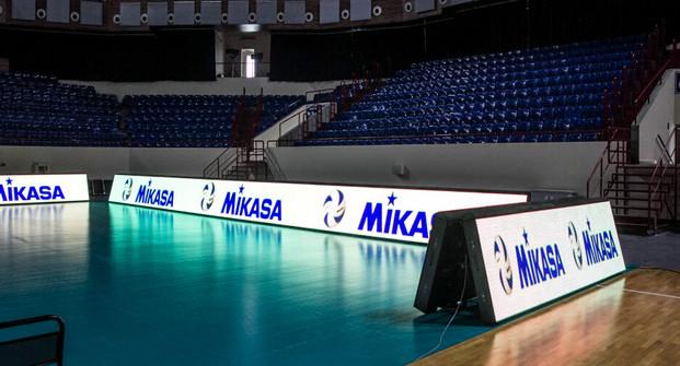 Perimeter LED screen in the sport hall