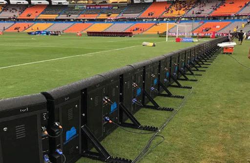 Perimeter LED screen on stadium-back view
