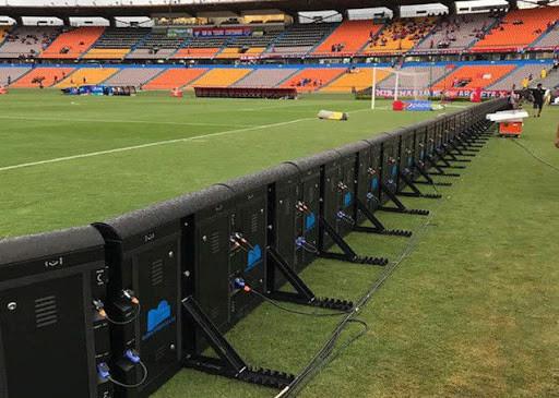 Периметърен LED екран на стадион-поглед отзад