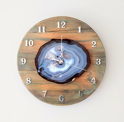 Crystal Agate  & Oak Wall Clock