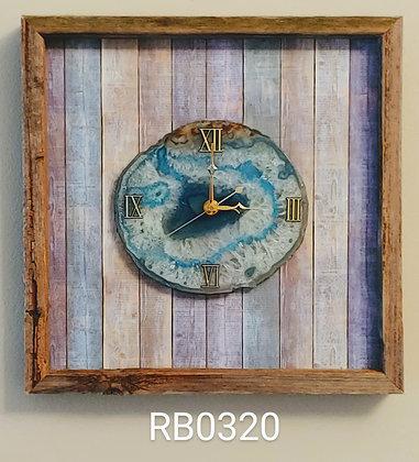 Reclaimed Barn Wood & Crystal Agate Wall Clock