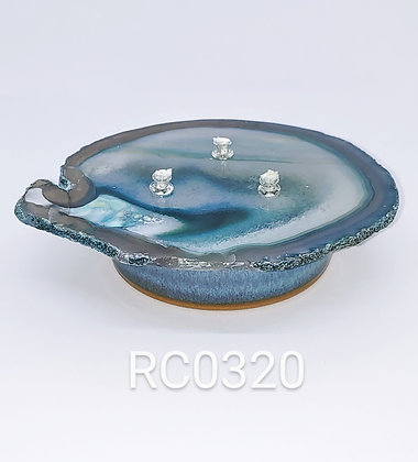 Stone Oil Candle with Sea Mist Glazed Pottery Base