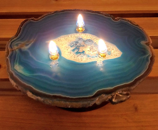 Stone Oil Candle with Cobalt Glazed Pottery Base