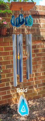 Teal Crystal Agate Wind Chime
