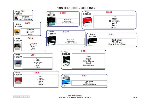 Rubber Stamps Price List - Pg1