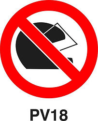 PV18 - Wearing of safety helmets prohibited