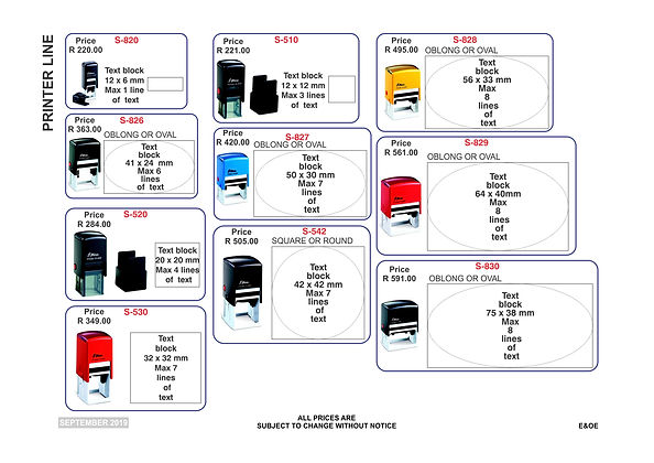 Rubber Stamps Price List - Pg2