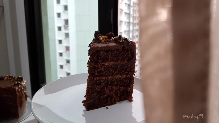 Sayang's Peanut Butter Caramel Chocolate Cake