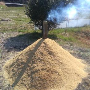 床張り④ くん炭作り