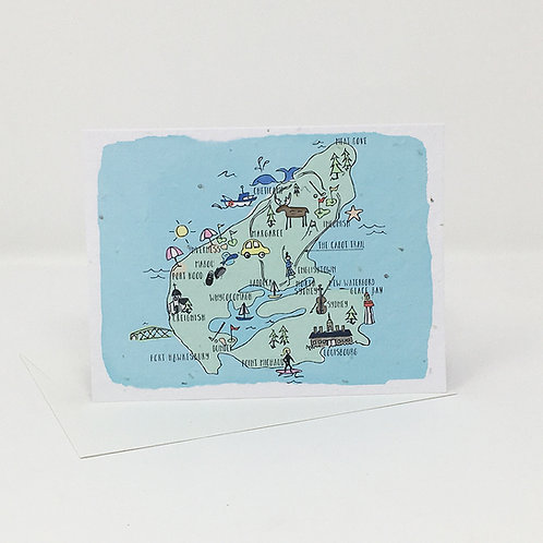 Wildflower seed card - Map of Cape Breton