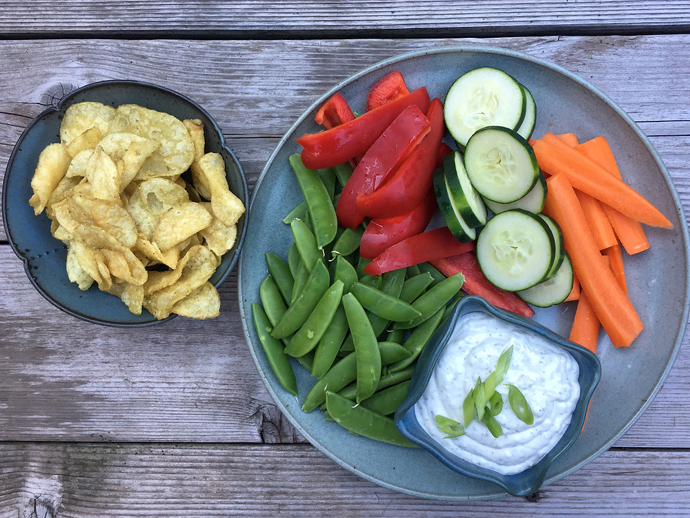veggies, dip and chips