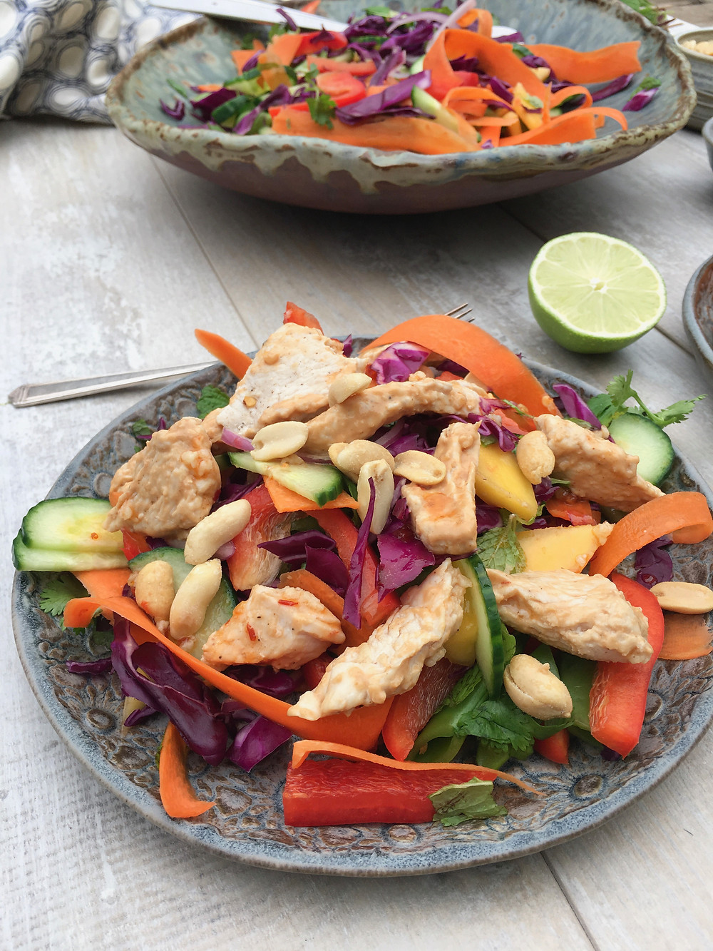 salad with turkey and peanuts