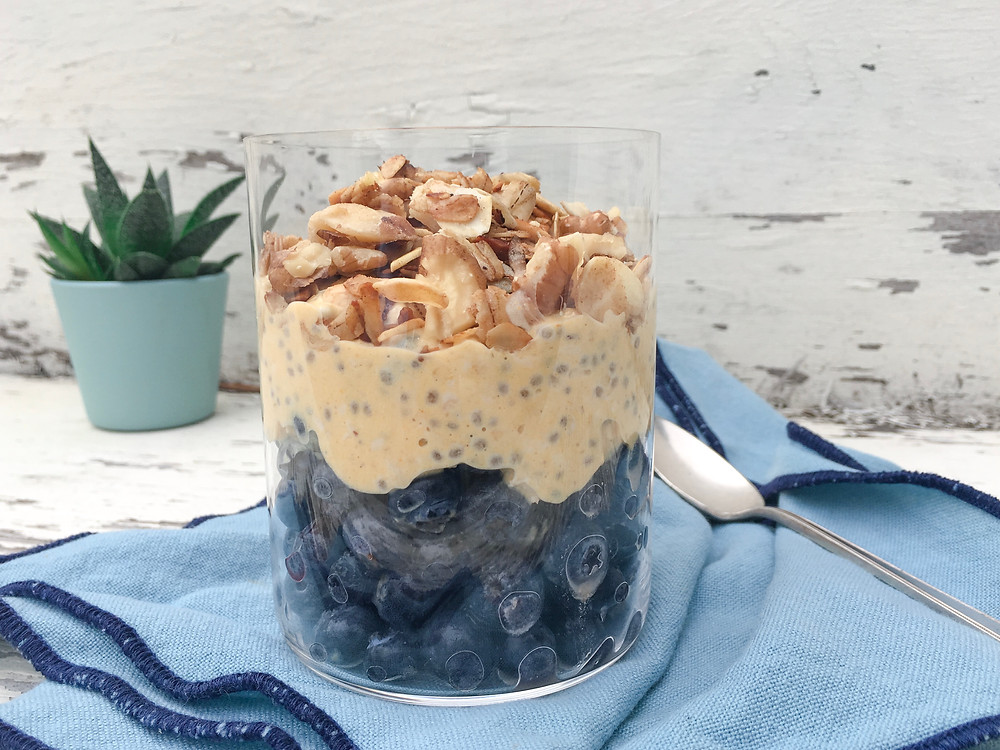 pumpkin  pie oats with blueberries