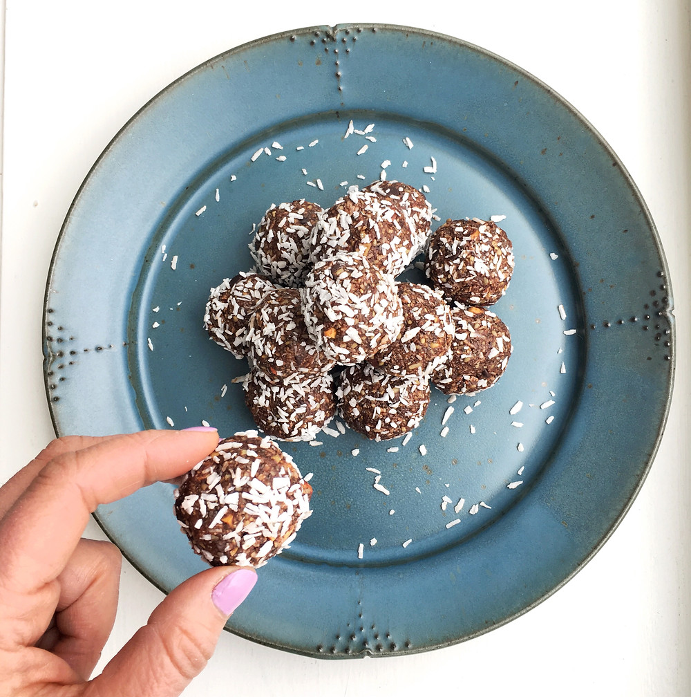dark chocolate energy bites on a plate