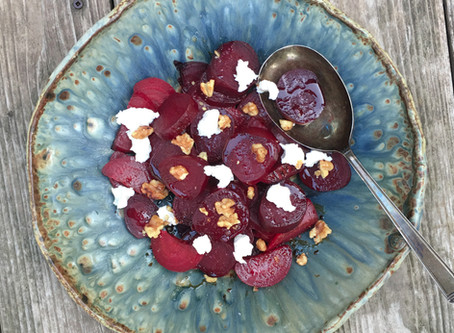 Easy Balsamic Roasted Beets with Feta and Walnuts