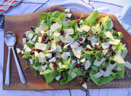Arugula, Apple, Walnut Salad Board with Miso Dressing