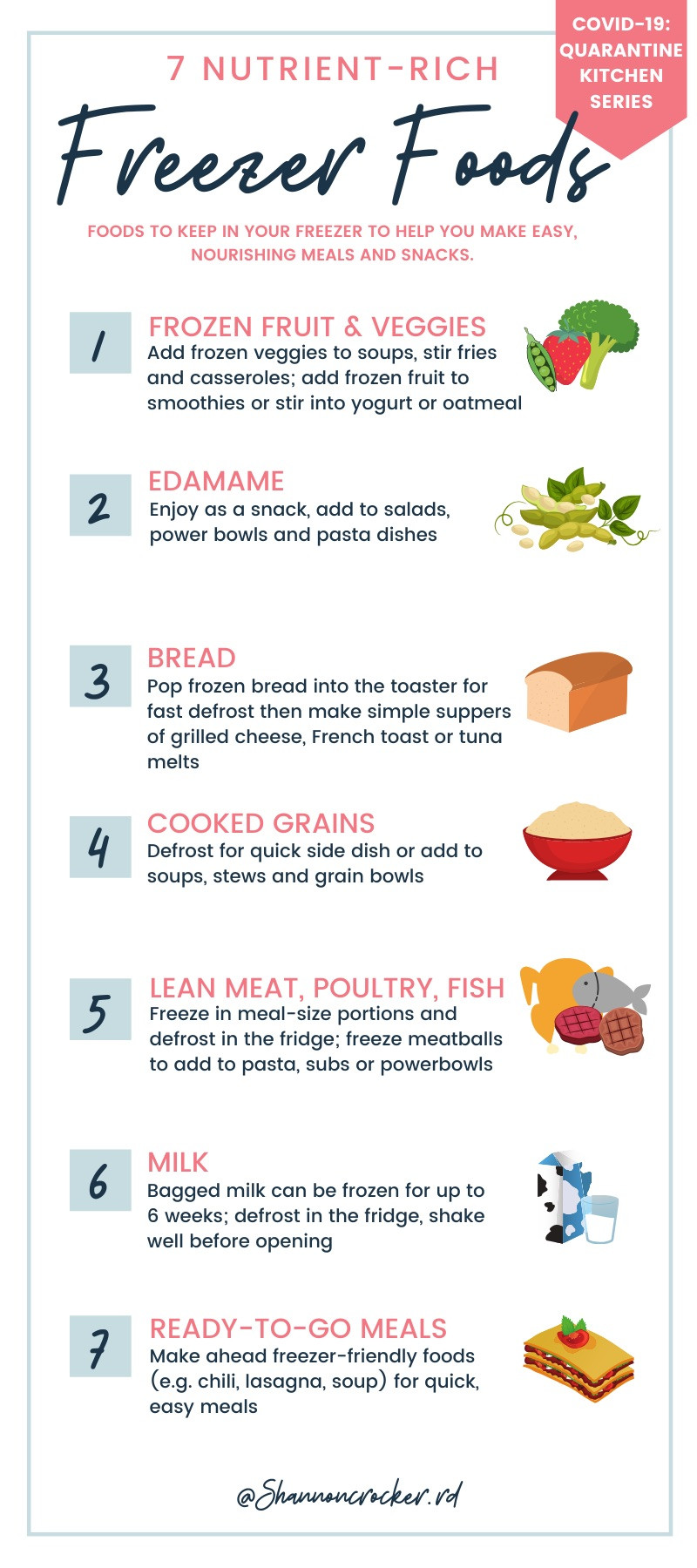 an infographic of 7 nutrient-rich freezer foods including frozen vegetables and fruit, edamame, bread, cooked whole grains, lean meat, poultry, fish, milk and ready to go meals.