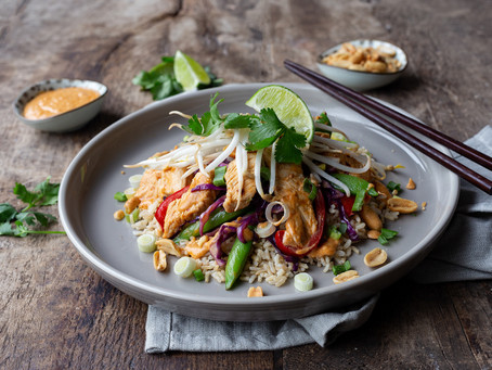 Turkey Stir-Fry with Spicy Peanut Sauce