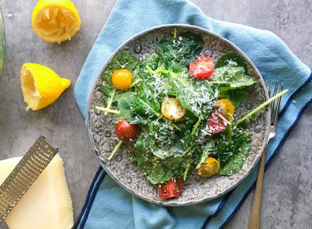 Quick Lemony Garlic-y Kale Salad