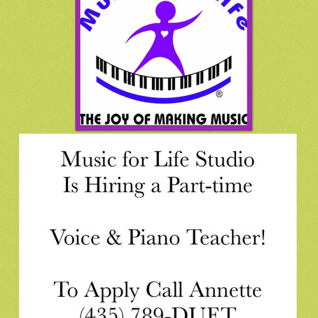 Help Wanted - Voice & Piano Part-time