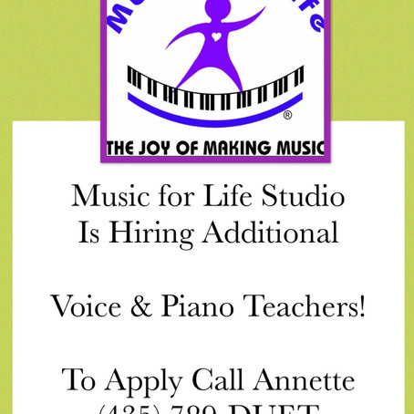 Positions Open: Additional Piano and Voice Teachers