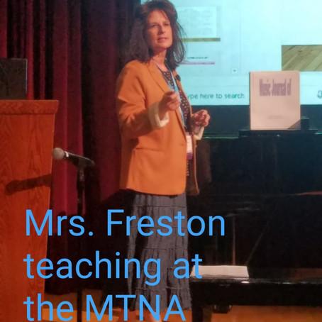 Mrs Freston Presents at MTNA Conference