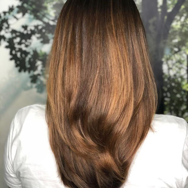 Long square concave layers with Balayage