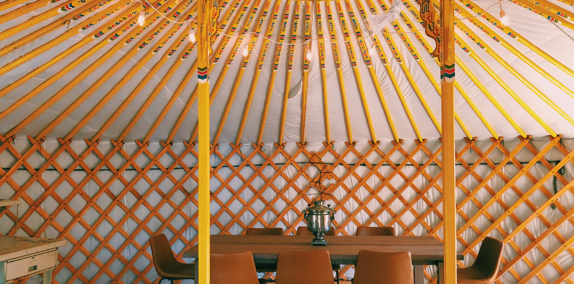 Anna Ger dining yurt at RiverBluff