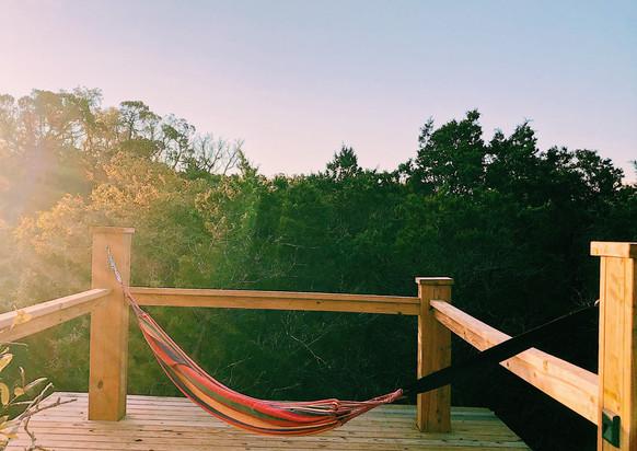 Hammock on rooftop deck at Remote Hilltop Yurt