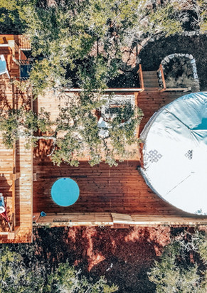 Drone View of a Remote Yurt