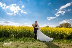 Brautpaar vor Rapsfeld